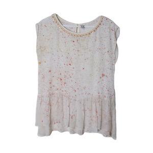 Anthro Blank london paint splatter embellished top